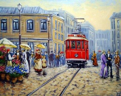 Obraz Tramwaj w starym mieście, obraz olejny krajobrazu