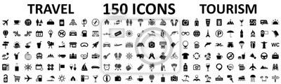 Obraz Travel and tourism set 150 icons, vocation signs for web development apps, websites, infographics, design elements – stock vector