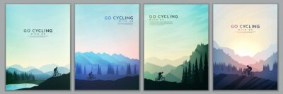 Obraz Travel concept of discovering, exploring and observing nature. Mountain bike. Cycling. Adventure tourism. Minimalist graphic poster. Polygonal flat design for book cover, poster, brochure, magazine