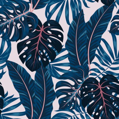 Obraz Tropical seamless pattern with colorful plants. Floral seamless vector tropical pattern background with exotic leaves, jungle leaf. Exotic wallpaper, Hawaiian style. Seamless vector texture.