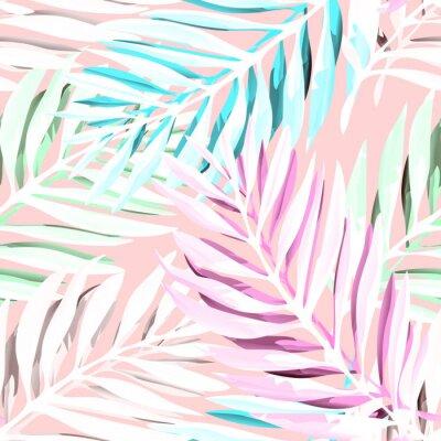 Obraz Tropikalna Palma liści deseń. Modne wzornictwo z abstrakcyjnymi dżungliami. Egzotyczne bezszwowe tło. Ilustracji wektorowych