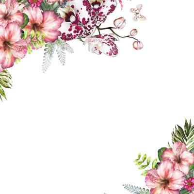 Obraz Tropikalne akwarele kwiaty. Karta z ilustracj? Kwiatów - orchidea, hibiscus. Kwiaty samodzielnie na białym tle. Liść, motyl i pąki. Egzotyczna kompozycja na zaproszenie