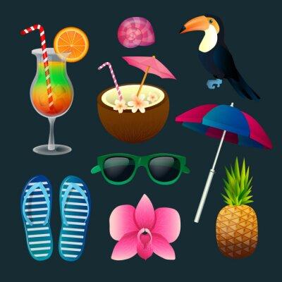 Obraz Tropikalne elementy zestawu: Koktajle, kwiaty, okulary, Ptak, ananas