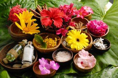 Obraz Tropikalny kwiat Spa zestaw