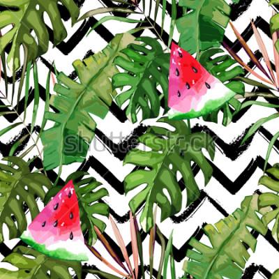 Obraz Tropikalny wzór. Liście palmowe i arbuz. Ręcznie rysowane ilustracja. Tło lato. Akwarela