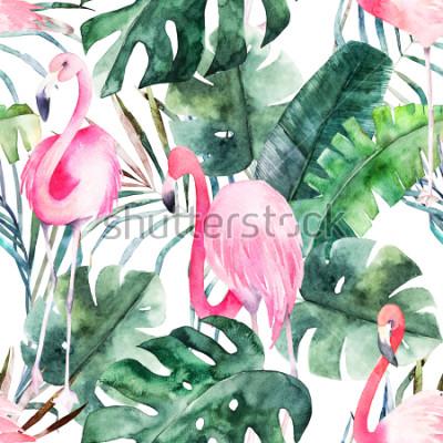 Obraz Tropikalny wzór z flamingo i liści. Letni wydruk w akwarela. Egzotyczna ręka rysująca ilustracja