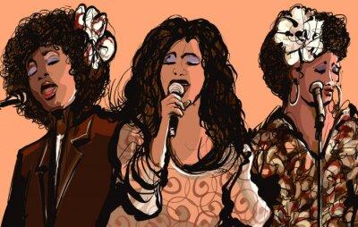 Obraz Trzy kobiety piosenkarze jazzowi