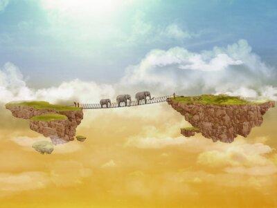 Obraz Trzy słonie. Ilustracji.