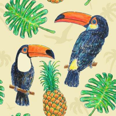 Obraz Tukan wzór Rysunek Marker
