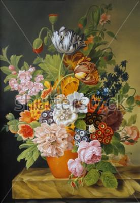 Obraz Tulipany i róże w starej wazie. Maki, fiołki, rumianek, stokrotki. Obraz. Martwa natura.