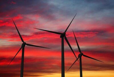Obraz Turbiny generatorów wiatrowych w niebie