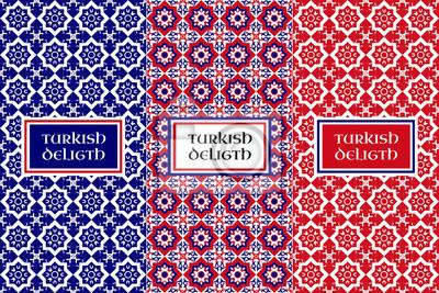 Obraz Turkish delight wektor wzór. Zestaw bez szwu tła z kwiatów i elementów projektu do pakowania żywności. Etykiety lub przywieszki do orientalnych produktów i słodkie sklepów.