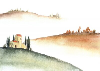 Obraz Tuscan villa and distant hills landscape watercolor painting.