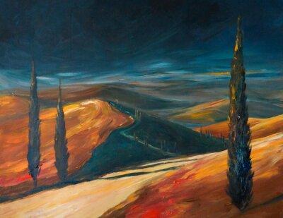 Obraz Tuscany dolina o zachodzie słońca. Obrazek stworzony z akrylami.