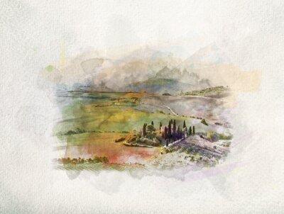 Obraz Tuscany krajobraz przy wschodem słońca w akwarelach.