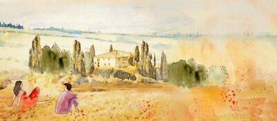 Obraz Tuscany, romantic date. Watercolor