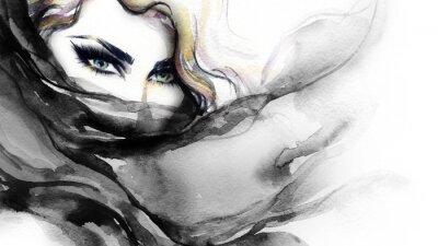 Obraz twarz kobieta. Ilustracja mody. akwarela