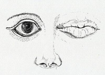 Obraz Twarzy, sztuka metafora, pióro i atrament na papierze rysunek tekstury