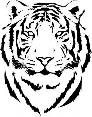 Obraz Tygrys głowy w czarnym interpretacji 2