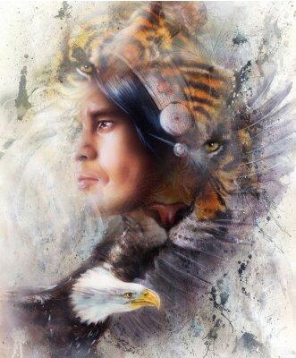 Obraz Tygrys z orłem i Indian wojownika i nakrycia głowy ilustracji. Zwierzęta w naturalnym środowisku na tle malarstwa, kontaktu z oczami, biały, czarny, brązowy kolor