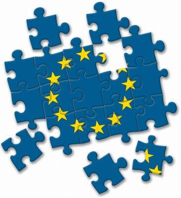 Obraz UE Unia Europejska flagi puzzle na białym tle