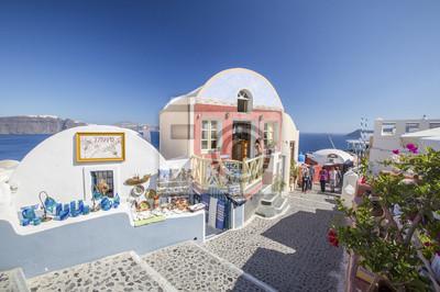 ulica i malowane sklep na Santorini