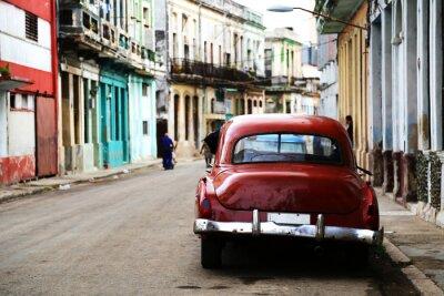 Obraz Ulica sceny z rocznika samochodu w Hawanie, na Kubie
