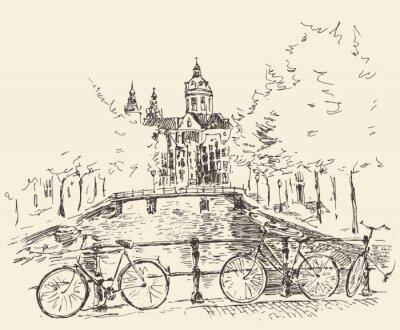 Obraz Ulice w mieście Amsterdam, ilustracji wektorowych