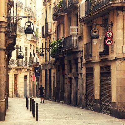 Obraz Ulicy w Dzielnicy Gotyckiej w Barcelonie.