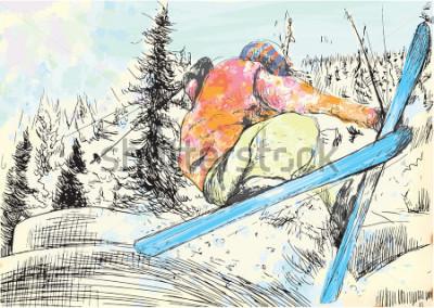 Obraz Urlop zimowy - narciarz. Wektor kilka warstw rysowane ręcznie ilustracje. Co najmniej cztery warstwy na każdym zdjęciu. Warstwy kolorów to maksymalnie szesnaście kolorów. Czarne kontury w specjalnej g