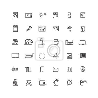 Obraz Urządzenia gospodarstwa domowego Vector linii ikony. Sprzęt AGD do domu, urządzenia kuchenne, ilustracja urządzenie elektroniczne urządzenie