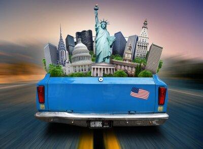 Obraz USA, atrakcje USA w bagażniku jadącego samochodu