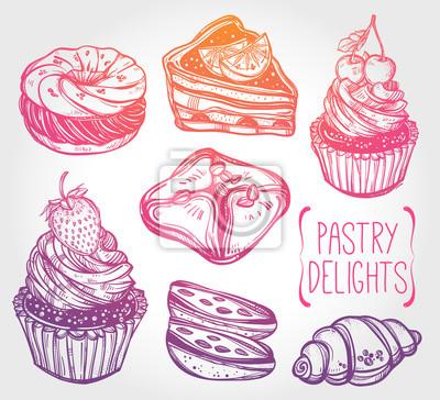 Obraz ustawić piekarskie i ciastkarskie ikony w stylu vintage.