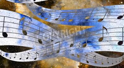 Obraz Uwaga muzyki i przestrzeni kosmicznej i gwiazd z abstrtact kolorze tła