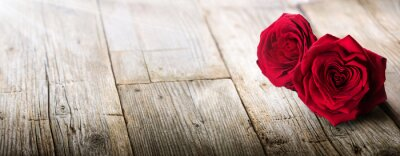 Obraz Valentines Card - Sunlight Na Dwóch Róż w miłości