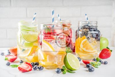 Obraz Various fruit and berry lemonade