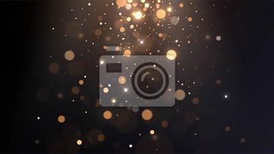 Obraz Vector background with golden bokeh, falling golden sparks, dust glitter, blur effect