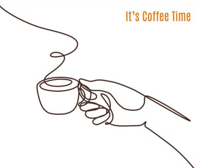 Obraz Vector coffee illustration drawn with one line. Hand with a cup of coffee.