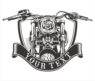 Obraz Vector design vintage motocykl z wstążką poniżej