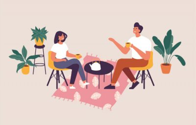Obraz Vector illustration couple sitting at the table, drinking tea or coffee and talking. Romantic date in a cafe.