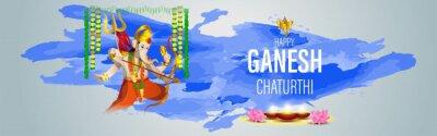 Obraz VECTOR ILLUSTRATION FOR INDIAN LORD GANESHA FESTIVAL HAPPY GANESHA CHATURTHI MEANS