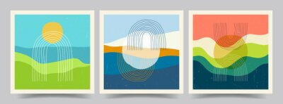 Obraz Vector illustration. Minimalist landscape. Abstract posters set. Contemporary backgrounds. Mid century wall decor. Design for social media template, web banner. Mountain, sea, hill, sunset scene