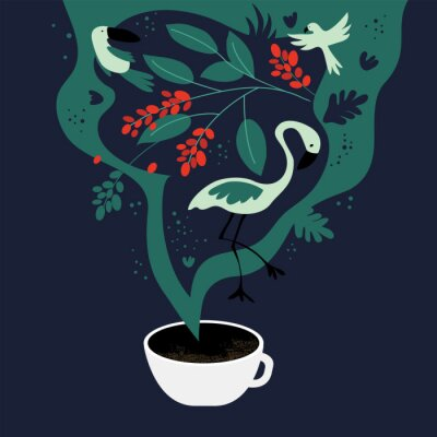 Obraz Vector illustration of cup of espresso with fancy scent. The dreams about tropics, equatorial regions where coffee plants are cultivated. Template with toucan,flamingo, parrot for banner, poster,flyer