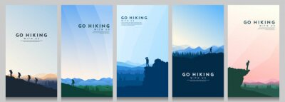Obraz Vector illustration. Travel concept of discovering, exploring and observing nature. Hiking. Climbing. Adventure tourism. Flat design for flyer, voucher, poster, invitation, gift card.