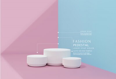 Obraz Vector pink-blue minimal scene , podiumfor cosmetic product presentation. Abstract background with geometric podium platform in pastel colors. Template for design, presentation, advertisement.