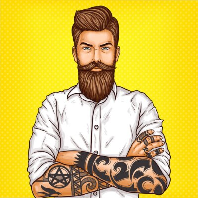 Obraz Vector pop sztuki ilustracja brutalny brodatych mężczyzn, macho z tatoo złożył ręce na piersi