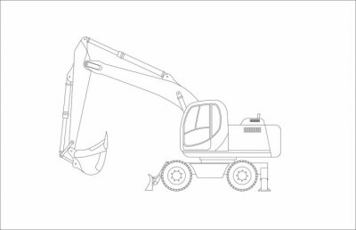 Obraz Vector sketch of a wheeled excavator on a white background. Vector illustration