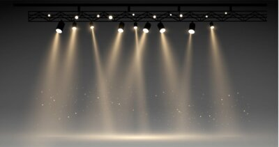 Obraz Vector stage with set of yellow spotlights. grey stage lights. realistic epty scene. illustartion
