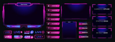 Obraz Vector streaming screen panel overlay game template neon theme. Live video, online stream futuristic technology style. Abstract digital user interface. Live streaming button. Vector 10 eps