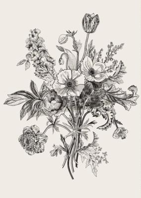 Obraz Victorian bukiet. Wiosenne kwiaty. Poppy, zawilce, tulipany, Delphinium. Archiwalne ilustracji botanicznej. element projektu. Czarny i biały. Rytownictwo